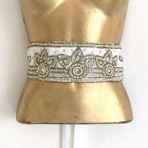 Bridal Beaded Jeweled Glitzy Tie Belt OS